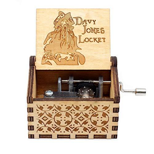 Creatieve antieke gesneden houten muziekdoos kerstcadeau verjaardagscadeau Davy Jones