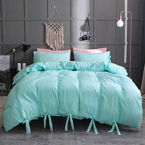 SXCYU Beddengoedset kunst gewassen katoenen zacht dekbedovertrek (met kussensloop) 1-persoons groot kingsize bed, groen, 167x228 cm (2 stuks)