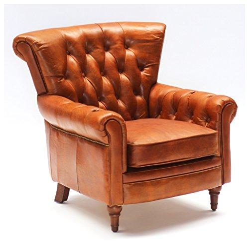 Phoenixarts Vintage Echtleder Chesterfield Ledersessel Braun Design Lounge Ohrensessel Leder Club Sessel 549