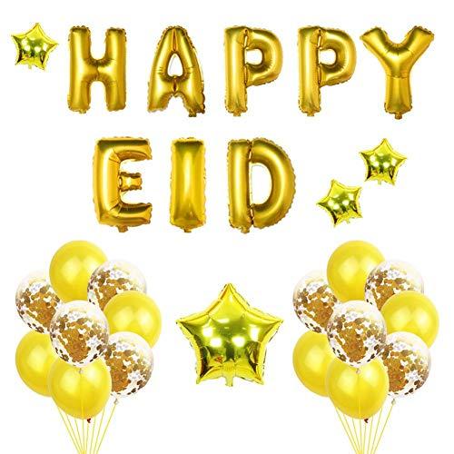 Ramadan Mubarak ballonnen met Happy Eid hangende banner glitter gouden letters pentagram ballonnen moslim festival Eid Mubarak slinger decoratie