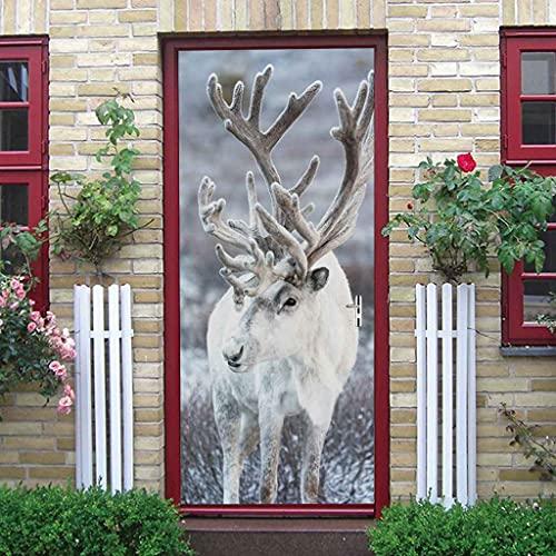 NXCNTD 3D Etiqueta De La Puerta Alce blanco del bosque Impermeable Extraíble Bricolaje Pintura Mural Murales Autoadhesivos Papel Tapiz Interiores Puerta Del Dormitorio Decoracion 77x200cm