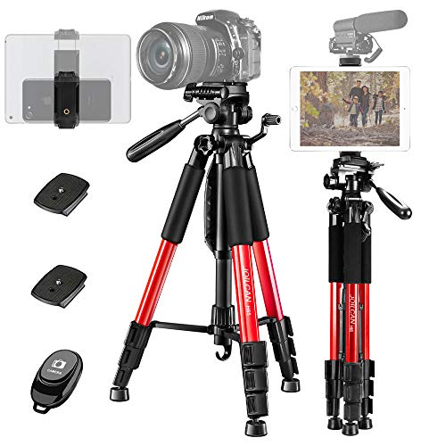 "JOILCAN 65"" Camera Tripod, Aluminum Lightweight Phone/Tablet Stand 11 lbs Load with Universal Phone/Tablet Mount,2PC Quick Plates for Traveling,Live Streaming, Video Recording(Red)"