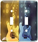3dRose lsp_55602_2'Gold And Blue Guitar-Musical Art-Fun Designs Double Toggle Switch
