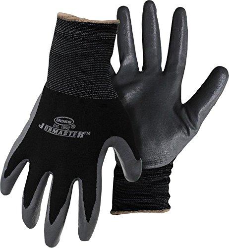 Boss Gloves 8442L  JobMaster Nylon Gloves with Nitrile Palm, Large -  Black
