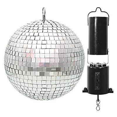 beamz Battery Powered Mirror Ball 20cm Rotating Hanging Motor Silver Glitter for Wedding Disco Prom Dance Hall