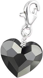 Sterling Silver Heart Charm Silver Night Swarovski Crystal