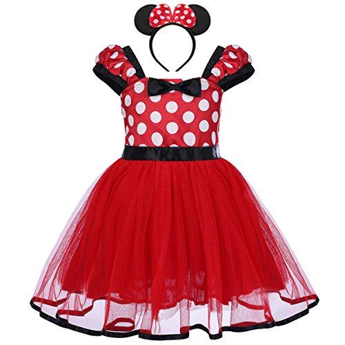 IBTOM CASTLE Vestiti Bambina Ragazze Abiti Vestito Costume Principessa Balletto Tutu Danza Body Minnie Polka Dots Rosso 18-24 Mesi