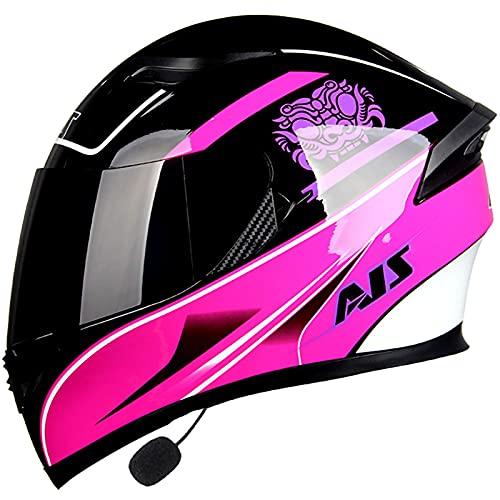 Casco de Moto Bluetooth,Casco Moto ECE Homologado Casco de Moto Scooter con Doble Visera para Mujer Hombre Adultos Bluetooth Integrado Casco A,XXXL63~64cm