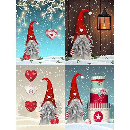 4 Pack 5D Full Drill Christmas Diamond Painting Kit,EVERMARKET DIY Diamond Rhinestone Painting Kits for Adults and Beginner Embroidery Arts Craft 16 X 12 Inch Gnomes Diamond Paintings Christmas Gift