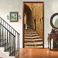 sesemao3Dインテリアドアベッドルームステッカードアステッカー防水粘着紙リビングルームベッドルームオフィスバスルームファミリーストーンステップ-80 * 210