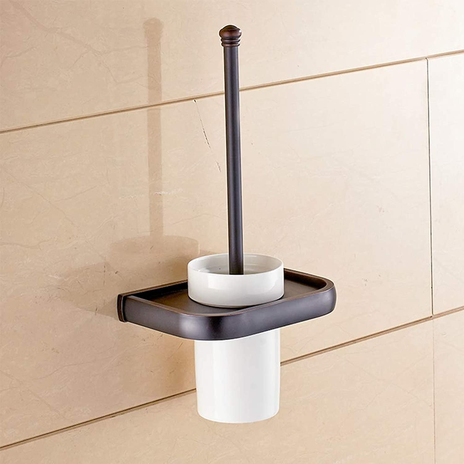 LUDSUY Toilet Brush Holders Classic Wall Mouted Ceramic Cup Brass Brushed Cup Tumbler Holders Bathroom Accessories,BBathroom Accessories