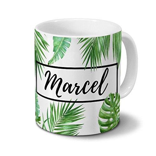 printplanet Tasse mit Namen Marcel - Motiv Dschungel Floral Leaf - Namenstasse, Kaffeebecher, Mug, Becher, Kaffeetasse - Farbe Weiß
