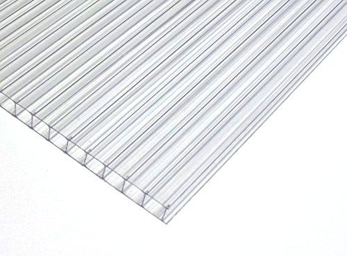Polycarbonat Dachplatte Stegplatte Dick: 4mm Farbe: KLAR Größe: 610mm x 1210 mm -> Wunschmaße auf Anfrage. für Gewächshaus | Treibhaus Carport