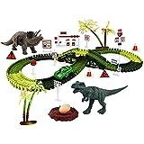 SM SunniMix Juego de Pista de Carreras de Juguetes de Dinosaurio, Pistas de Dinosaurio de Juguete de ferrocarril de Bricolaje Educativo para Navidad, cumpleaños - 28,35x15,75 Pulgadas