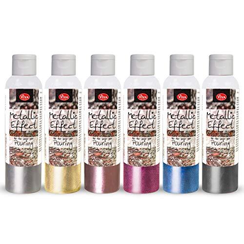 Viva Decor® Metallic Effect für Pouring Set (Silber, Gold, Rosegold, Blau, Magenta, Stahl, 6 x 120 ml) - Metallic Acrylfarbe mit Effekt - Acryl Pouring, Acrylic Paint Farbe - Made in Germany