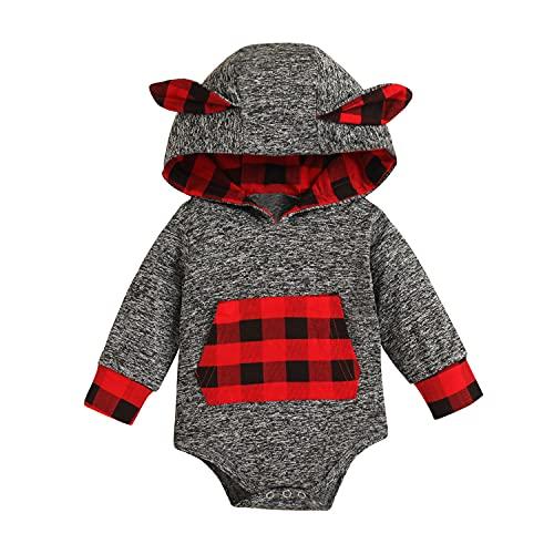 Alunsito Bebé Niños Niñas Mono Sudadera con capucha Mameluco Cuadros Manga larga Oreja de conejo Trajes de una pieza Ropa de abrigo Gris 90 6-12 meses