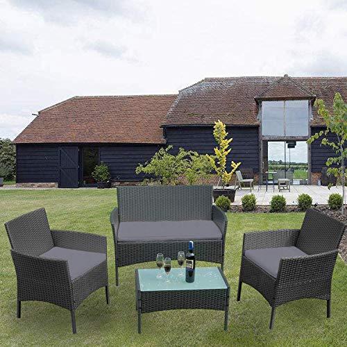 Ouhigher Balkonmöbel Gartenmöbel Set Poly Rattan Gartenmöbel Lounge Farbwahl mit 2-er Sofa, Singlestühle, Tisch, Anthrazit Sitzkissen - 9
