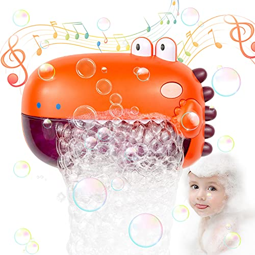 WolinTek Juguete de Baño para Bebé, Máquina de Burbujas para Bañera, Dinosaurio de Juguete con Melodías Musicales,Burbuja de Baño Juguetes para Niños (Amarillo)