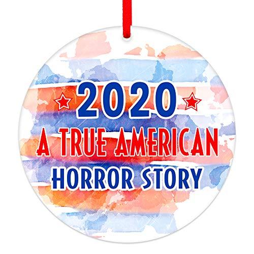 WaaHome 2020 Pandemic Quarantine Christmas Ornaments 3'' 2020 A True American Horror Story Ornaments American Flag Theme Christmas Tree Ornaments Decorations