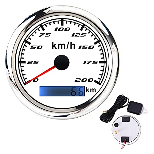 XIXI-Home 85mm Digital GPS Calibrador de velocímetro 30 60 120 200 200 KMH Apto para Coche Canal DE TELEVISIÓN BRITÁNICO Autoómetros de camión automático con GPS Antena (Color : WS 200KMH GPS)