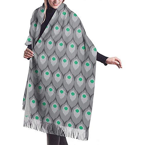 Nice-Guy Die Kaschmir-Schals der modernen Pfauenfeder-Frauen wickeln Schals mit Quasten für Fall-Winter ein