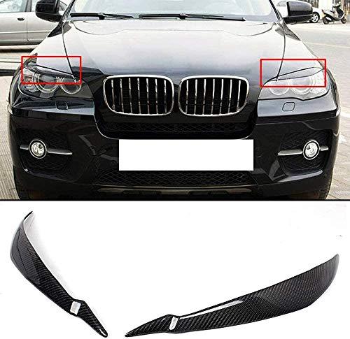1 Paar Kohlefaser Auto Scheinwerferabdeckung Augenlider Augenbrauen Trim Scheinwerfer Augenbraue, Für BMW E71 X6 X6M 2008 2014Car Scheinwerfer Augenbraue