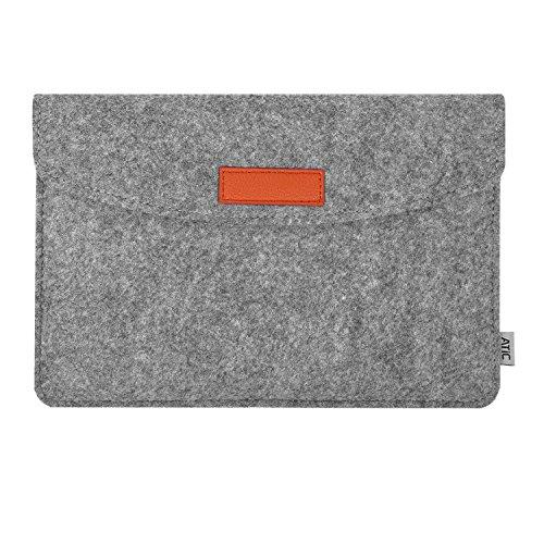 『スリーブケース ATiC iPad 10.2 2020/2019、iPad Air 3 10.5、iPad Pro 10.5、iPad Pro 9.7、iPad 9.7(2018/2017)、iPad Air 2、iPad Air 9.7 と他の9-10インチタブレット専用 フェルト収納ケース・バッグ Light GRAY(ポケット付き、内部フランネル)』の1枚目の画像