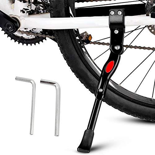 Pata de Cabra para Bicicleta, Aluminio Aleación Ajustable Bicicleta Kickstands con pie de Goma Antideslizante y Llave Hexagonal para 22 - 27 pulgadas MTB Montaña, Carretera Bicicletas, Negro