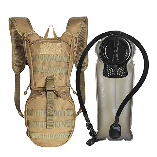 Unigear Tactical Hydration Pack Backpack 900D with 2.5L Bladder for Hiking, Biking, Running, Walking and Climbing (TAN)