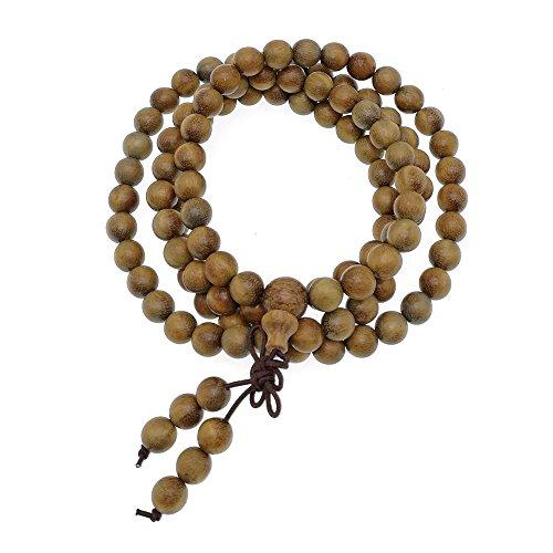 HAPPEACE 6mm Natural Fragrant Green Sandalwood 108 Mala Beads - Tibetan Buddhism Prayer Beads