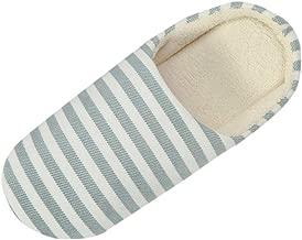 LILICHIC Men's Slipper Women's Slipper Warm Striped Slipper IndoorsAnti-Slip Winter House Shoes