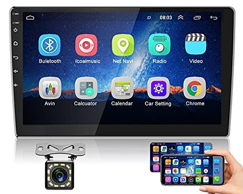 Hikity Android Autoradio con Navigation GPS 2 Din Bluetooth Auto Stereo 10 Inch Pollici Touch Screen Radio FM WiFi Casting Dello Schermo + Telecamera Di Backup