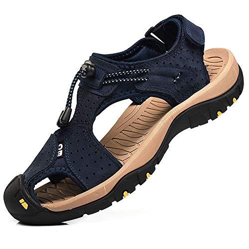 Rismart Hombre Punta Cerrado Gancho y Bucle Al Aire Libre Excursionismo Cuero Zapatos Sandalias y Chanclas SN1505(Azul Marino,43 EU)