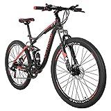 Outroad Mountain Bike 26/27.5 inch Wheel 21 Speed 3 Spoke Double Disc Brake Bicycle Suspension Fork Rear Anti-Slip Bike for Adult or Teens