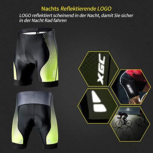 XGC Herren Kurze Radlerhose und Radunterhose Radsportshorts Fahrradhose für Männer elastische atmungsaktive 4D Schwamm Sitzpolster mit Einer hohen Dichte (S, Black_Green) - 3