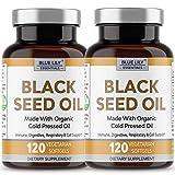 Black Seed Oil Vegan Softgels 2 Pack (240 Count) Organic Cold Pressed Nigella Sativa Oil. Good Source of Omega 3 6 9. Super Antioxidant for Immune Support, Radiant Skin & Hair