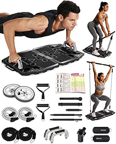 Gonex Portable Home Gym Workout Equipment with 14 Exercise Accessories Ab Roller Wheel,Elastic Resistance Bands,Push-up Stand,Post Landmine Sleeve and More for Full Body Workouts System