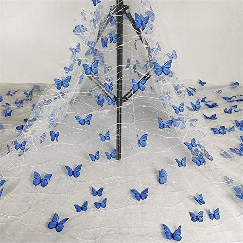 Tela de encaje de tul francés con mariposas en 3D vívidas para manualidades, vestido de boda, accesorios de disfraces, vestido de niña, vestido de novia, velo de novia,...