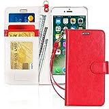 FYY Cover iPhone 8 Plus, Custodia iPhone 8 Plus, Cover iPhone 7 Plus, Flip Custodia Portafoglio Libro Pelle PU con Porta Carte e Chiusura Magnetica per iPhone 7 Plus/8 Plus- Rosso