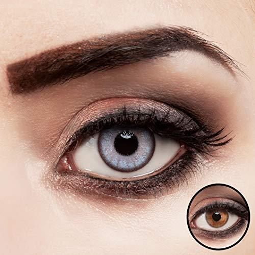 aricona Kontaktlinsen farbig blau ohne Stärke für dunkle Augenfarben 2 Stück