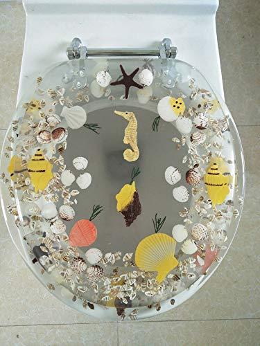 Daniel's Bath & Beyond Polyresin Round Seahorse Toilet Seat, 17', Clear