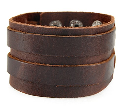 Cinturino in pelle largo axy iggle LAB1 -2! Vera Cinturino in pelle aighina ying-yang! Surfer Bracciale Uomo, colore: Braun/ Brown