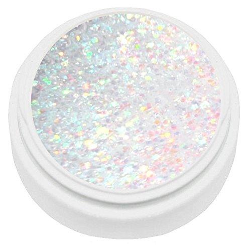 KM-Nails Gel pour ongles avec paillettes blanches irisées 5 ml