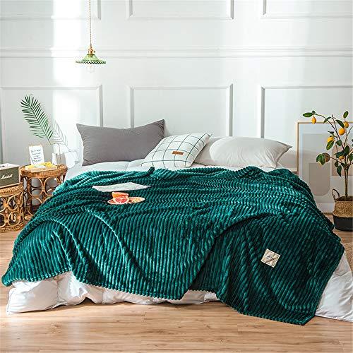 Fansu Flanell Plüsch Decke, Extra Weiche Winter Warme Luxuriös Kuscheldecke Microfaser Flauschige Falten-beständig Wohndecke Sofadecke oder Bettüberwurf (Dunkelgrün,200x230cm)