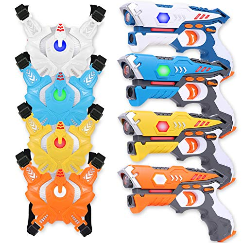 EOYIZW Laser Tag Sets with Gun and Vest, Set of 4 Infrared Lazer Tag, Multi Function Laser Tag for Kids and Adults Multi Players - Backyard, Indoor and Outdoor Games for Adults, Kids and Family