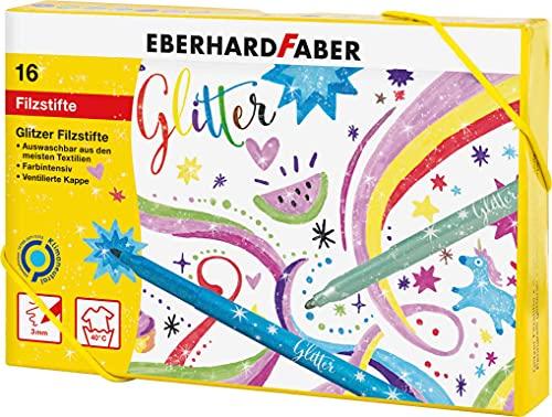 Eberhard Faber 551016 - Glitzer Filzstifte in 16 leuchtenden Farben, Minenstärke 3 mm, auswaschbar, in Hartkartonage, zum Zeichnen, Kolorieren, Basteln und Schreiben