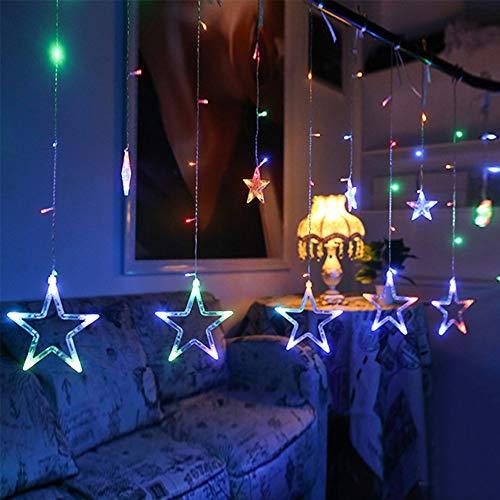 Hihey Lichtsnoer voor binnen en ramen, LED-sterrengordijn, 8 modi, 12 kleurrijke sterren, lichtgordijn voor kerstdecoratie, feesten