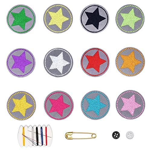 12 Bügelpflaster für Kinder,DIY Pflaster,Sternenset mit 12 Mini-Aufbügel-Patches,Sternchen zum Aufbügeln von Sternen kleines rundes für DIY-T-Shirt-Jeans-Kleidertaschen