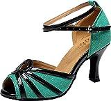 5003 Zapatos de baile latino profesional para mujer para baile de baile y baile, se dobla como cómodos zapatos de fiesta, color Verde, talla 36.5 EU