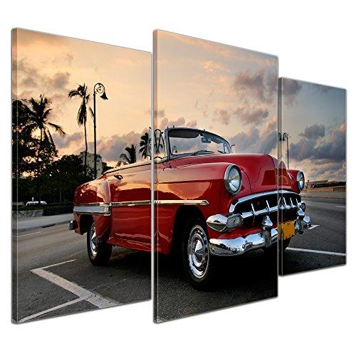 Bilderdepot24 Bild auf Leinwand   Roter Oldtimer in Havanna in 100x60 cm mehrteilig als Wandbild   Wand-deko Dekoration Wohnung modern Bilder   200552